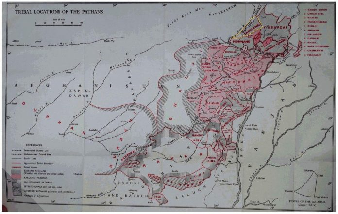 Maps - Tarkalanri in Tribal Locations of the Pathans - The Pathans 550 BC-AD 1957 - by Olaf Caroe - Published 1958
