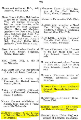 "Maghdud Khel, Mahmud Khel and Mahsud Khel - Sub-divisions of Kakazai - Page 29 - in ""A Dictionary of the Pathan Tribes of the North West Frontier of India"" - Published by The General Staff Army Headquarter, Calcutta, British India (Originally Published 1910)"