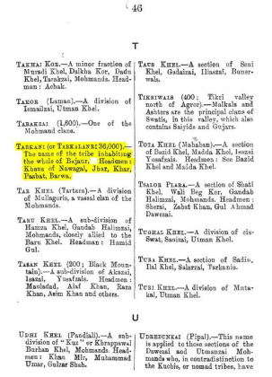 "Tarkani or Tarkalanri - Grandfather of Kakazai - Page 46 - in ""A Dictionary of the Pathan Tribes of the North West Frontier of India"" - Published by The General Staff Army Headquarter, Calcutta, British India (Originally Published 1910)"