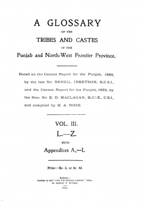 "Tarkalanri (Grandfather of Kakazai Pashtuns) Pashtuns in ""A Glossary of the Tribes and Castes of the Punjab and North-West Frontier Province: L.-Z, Volume III"" by Denzil Ibbetson, Edward Douglas MacLagan (E. D. Maclagan) and Horace Arthur Rose (H. A. Rose) - Published 1914"