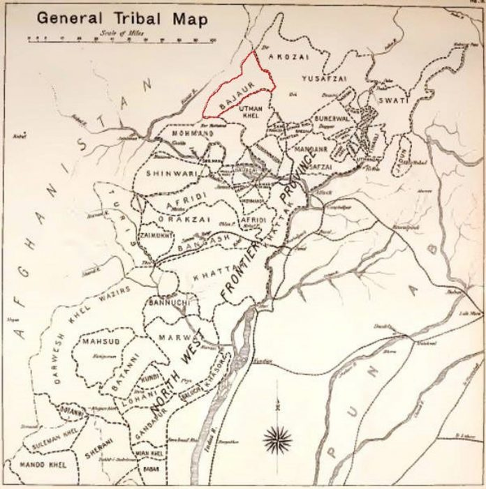 Maps - General Tribal Map - From the Black Mountain to Waziristan - by Colonel H. C. Wylly - Published in 1912